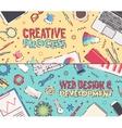 Set flat office creative process web design vector image