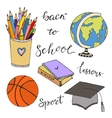 Hand drawn with school stationery doodle icons vector image
