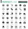 black classic e-commerce shopping icons set vector image