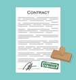 Contract with stamp approved vector image