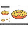 glazed donut line icon vector image