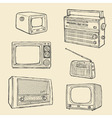 retro tv and radio set vector image