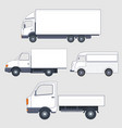 set of different trucks and van truck bodies vector image