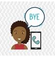 woman smartphone bubble telephone vector image