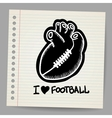 American football shaped heart vector image