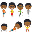 running and work out african-american boys vector image vector image