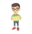 caucasian boy in glasses playing the accordion vector image