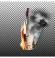 acoustic and electric guitar on fire smoke vector image