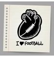 American football shaped heart vector image