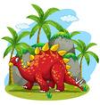 Dinosaur walking in the field vector image