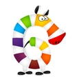 Number six Made of colorful animal cartoon vector image