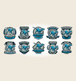 set of colorful logos emblems labels the world vector image