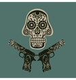 Hand drawn skull with guns vector image