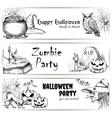 Halloween pencil sketch decoration elements vector image