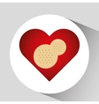 tasty cokkie white with circles and hearts design vector image