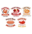 Meat butcher shop signs vector image