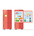 indoor and outdoor refrigerator with food sticker vector image