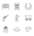 american cowboy icon set outline style vector image vector image