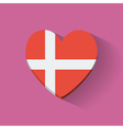 Heart-shaped icon with flag of Denmark vector image