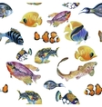 Marine life watercolor seamless pattern with vector image
