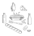 Sketch of italian pasta and food vector image