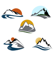 mountains emblem set vector image