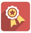 Star Quality Seal Flat Rounded Square Icon with vector image
