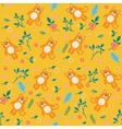 Orange cat and flowers seamless pattern vector image