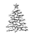 christmas tree decorated with balls vector image