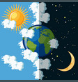 day and night on the planet earth concept vector image