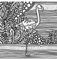 flamingo in fantasy garden page for color book vector image