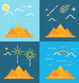 Flat design 4 styles of pyramids of Giza Egypt vector image