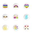 LGBT icons set cartoon style vector image