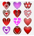 set of complex heart icon with calligraphic elemen vector image