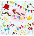 Template Jewish holiday Purim greeting card vector image