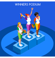 Winner Podium 2016 Summer Games 3D Flat vector image