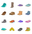 Shoe icons set cartoon style vector image