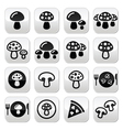 Mushroom buttons set vector image vector image