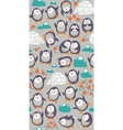 Cartoon seamless pattern with cute penguins vector image
