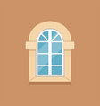 flat classical arched window on brown wall vector image