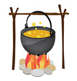 Kettle hanging over fire vector image