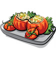 uffed tomatoes snack vector image vector image