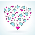 birds heart fly group element color sketch vector image