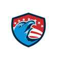 Bald Eagle Head American Stars and Stripes Shield vector image