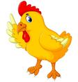 cute chicken cartoon waving vector image