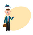 funny businessman with removable hat holding vector image