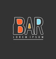 Logo bar Sign design poster advertising elements vector image
