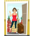 positive woman comes back home from vacation vector image