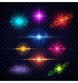 Realistic color lens flare light effects vector image