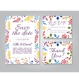 wedding invitation card set with floral vector image